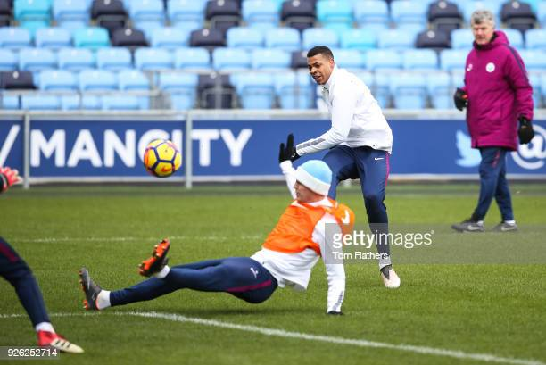 Manchester City's Lukas Nmecha during training at Manchester City Football Academy on March 2 2018 in Manchester England
