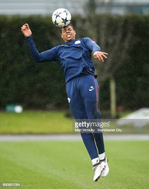 Manchester City's Lukas Nmecha during training at Manchester City Football Academy on March 12 2018 in Manchester England