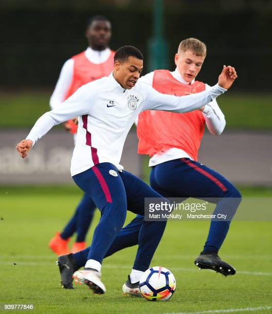 Manchester City's Lukas Nmecha during training at Manchester City Football Academy on March 29 2018 in Manchester England