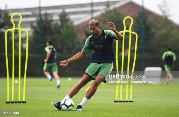 Manchester City's Lukas Nmecha during training at Manchester City Football Academy on July 12 2018 in Manchester England