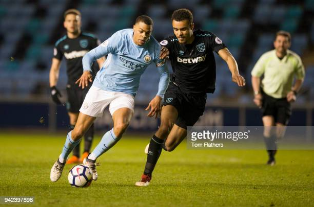 Manchester City's Lukas Nmecha in action during the Premier League 2 fixture between Manchester City and West Ham United at Manchester City Football...
