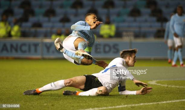 Manchester City's Lukas Nmecha in action during the UEFA Youth League match between Manchester City and FC Internazionale Milano at Manchester City...