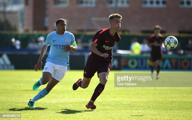 Manchester City's Lukas Nmecha in action during the UEFA Youth League Semi Final between Manchester City and Barcelona at Colovray Sports Centre on...