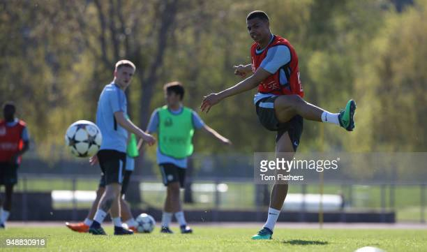 Manchester City's Lukas Nmecha in action in training at on April 19 2018 in Manchester England