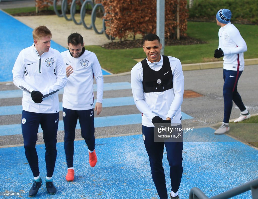 Manchester City's Lukas Nmecha, Kevin de Bruyne and Bernardo Silva during the training session at Manchester City Football Academy on February 23, 2018 in Manchester, England.