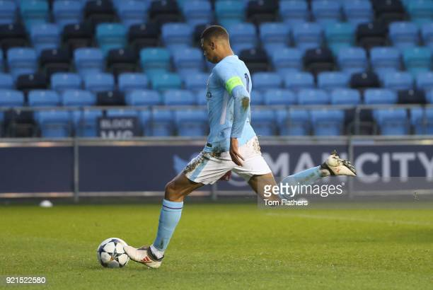 Manchester City's Lukas Nmecha scores to make it 11 during the UEFA Youth League match between Manchester City and FC Internazionale Milano at...