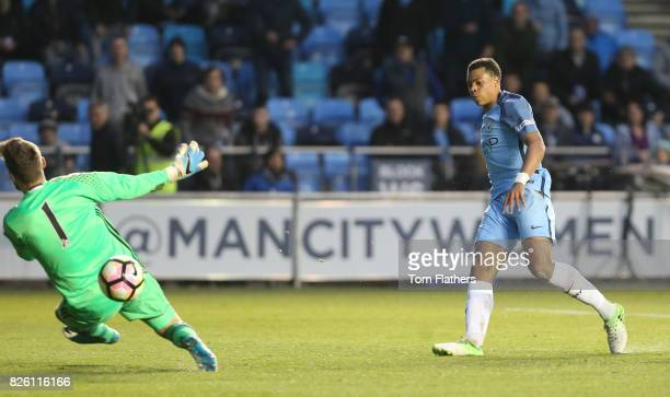 Manchester City's Lukas Nmecha shoots at goal hitting the the post in the FA Youth Cup Final against Chelsea