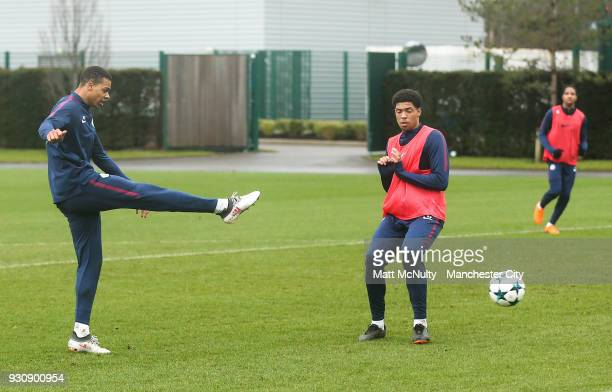 Manchester City's Lukas Nmecha shoots during training at Manchester City Football Academy on March 12 2018 in Manchester England