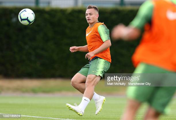 Manchester City's Luke Bolton during training at Manchester City Football Academy on July 16 2018 in Manchester England