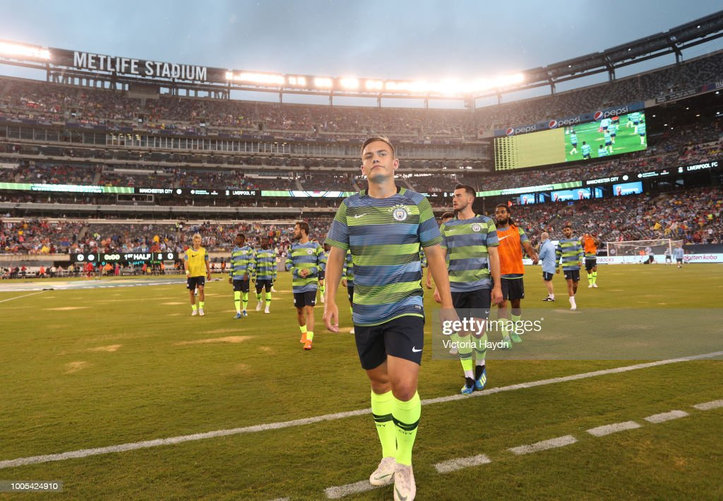 Manchester City's Luke Bolton in action at MetLife Stadium on July 25, 2018 in East Rutherford, New Jersey.