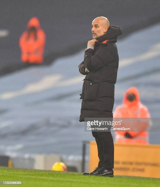 Manchester City's Manager Josep Guardiola during the Premier League match between Manchester City and Brighton & Hove Albion at Etihad Stadium on...