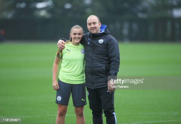 Manchester City's manager Nick Cushing and Georgia Stanway in action during training at Manchester City Football Academy on October 15 2019 in...