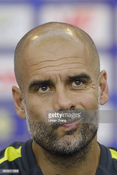 Manchester City's manager Pep Guardiola attends a press conference for 2016 International Champions Cup match between Manchester City and Borussia...