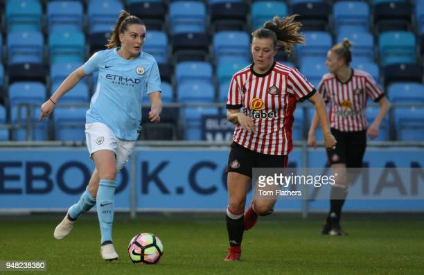 Manchester City's Mel Lawley in action during the WSL fixture between Manchester City Women and Sunderland Ladies at The Academy Stadium on April 18...
