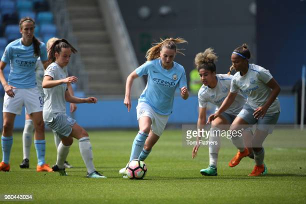 Manchester City's Mel Lawley in action during the WSL match between Manchester City Women and Everton Ladies at The Academy Stadium on May 20 2018 in...