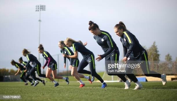 Manchester City's Melissa Lawley and Jennifer Beattie in action during training at Manchester City Football Academy on October 31 2018 in Manchester...