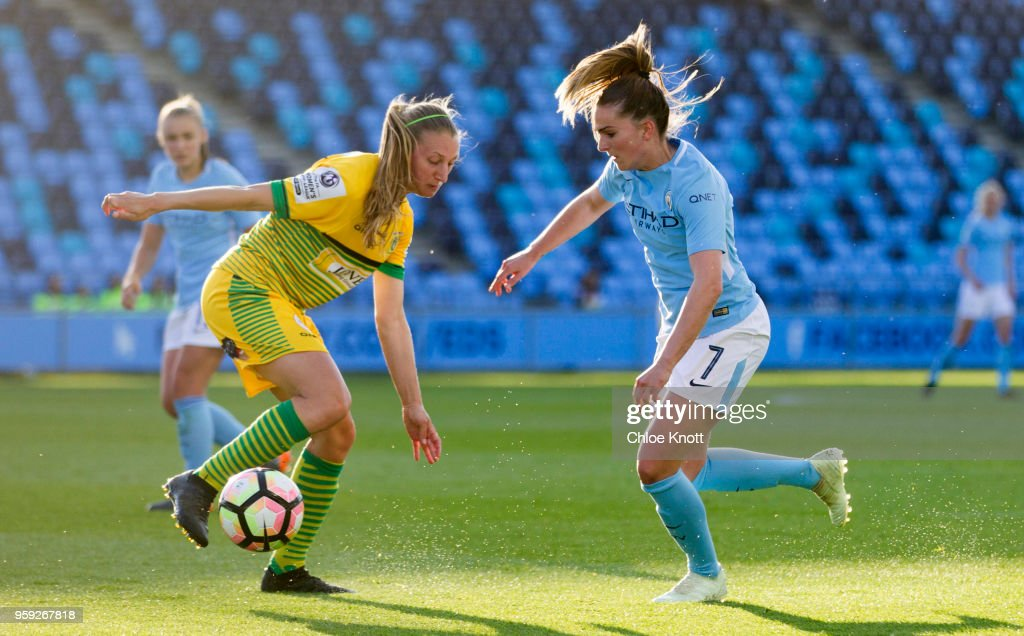Manchester City's Melissa Lawley in action during the FA WSL match between Manchester City Women and Yeovil Town Ladies at The Academy Stadium on May 16, 2018 in Manchester, England.