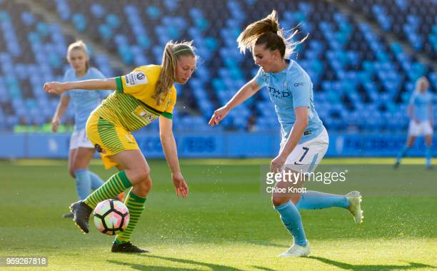 Manchester City's Melissa Lawley in action during the FA WSL match between Manchester City Women and Yeovil Town Ladies at The Academy Stadium on May...