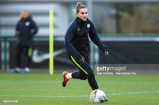 Manchester City's Melissa Lawley in action during the training session at Manchester City Football Academy on November 20 2018 in Manchester England