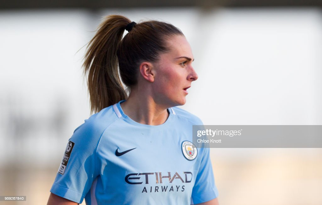 Manchester City's Melissa Lawley looks on during the FA WSL match between Manchester City Women and Yeovil Town Ladies at The Academy Stadium on May 16, 2018 in Manchester, England.