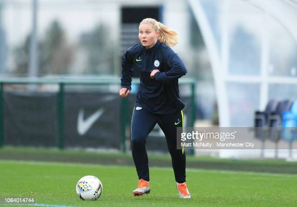Manchester City's Mie Jans in action during the training session at Manchester City Football Academy on November 20 2018 in Manchester England