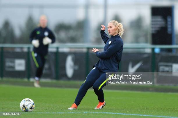 Manchester City's Mie Jans takes part in a passing drill during the training session at Manchester City Football Academy on November 20 2018 in...