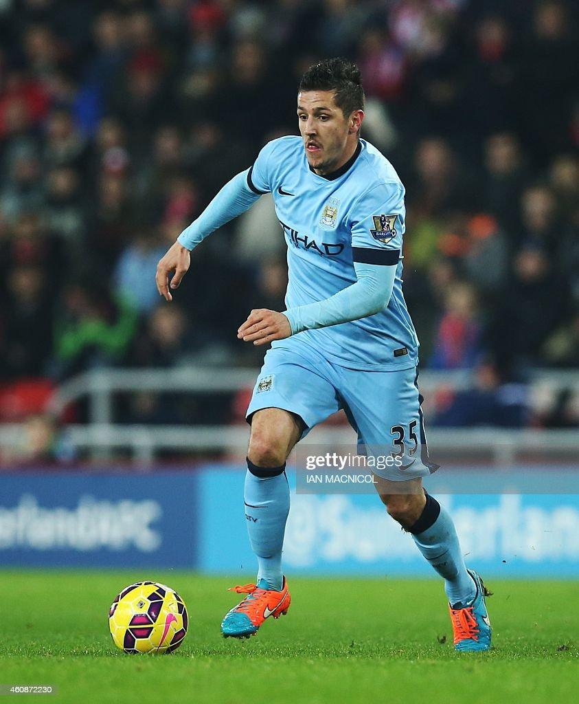 Manchester Citys Montenegrin striker Steven Jovetic runs with the