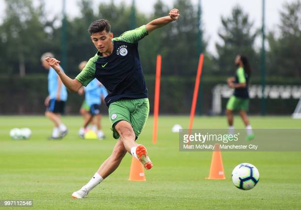 Manchester City's Nabil Touaizi during training at Manchester City Football Academy on July 12 2018 in Manchester England