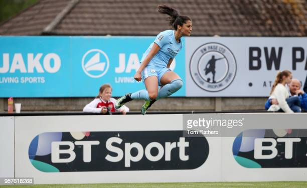 Manchester City's Nadia Nadim celebrates scoring to make it 10 during the WLS match between Arsenal Ladies and Manchester City Women on May 12 2018...