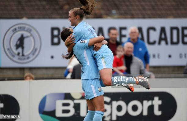 Manchester City's Nadia Nadim celebrates scoring to make it 10 with Georgia Stanway during the WLS match between Arsenal Ladies and Manchester City...