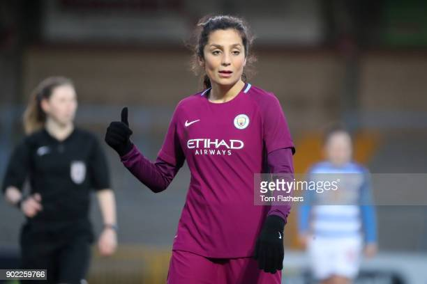 Manchester City's Nadia Nadim in action during the WSL match between Reading FC Women v Manchester City at Adams Park on January 7 2018 in Reading...