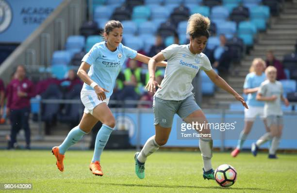 Manchester City's Nadia Nadim in action during the WSL match between Manchester City Women and Everton Ladies at The Academy Stadium on May 20 2018...