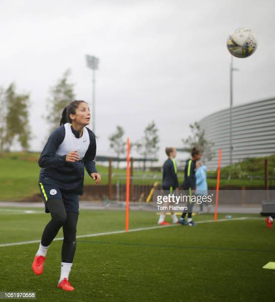Manchester City's Nadia Nadim in action during training at Manchester City Football Academy on October 12 2018 in Manchester England