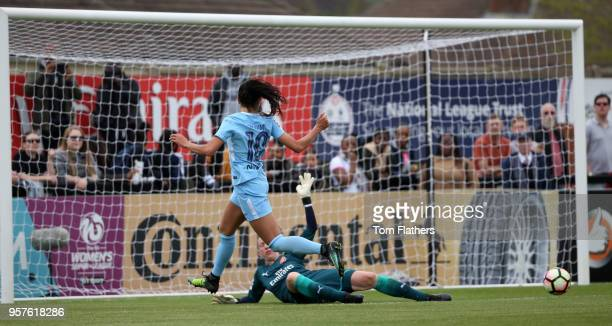 Manchester City's Nadia Nadim scores to make it 10 in during the WLS match between Arsenal Ladies and Manchester City Women on May 12 2018 in...