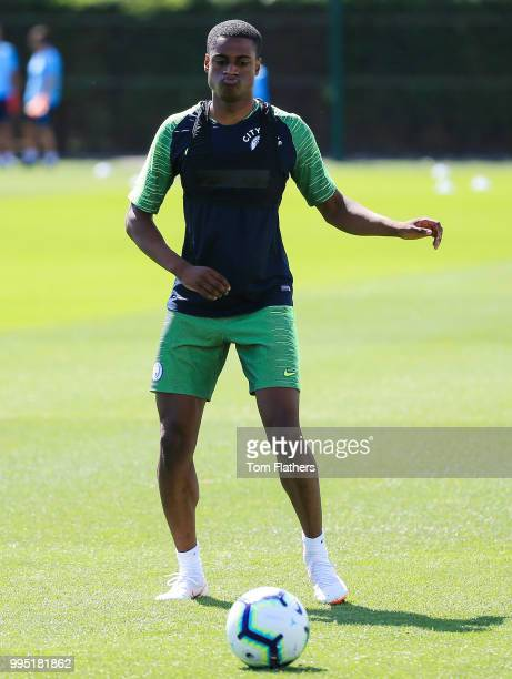 Manchester City's Nathaniel Ogbeta during training at Manchester City Football Academy on July 10 2018 in Manchester England