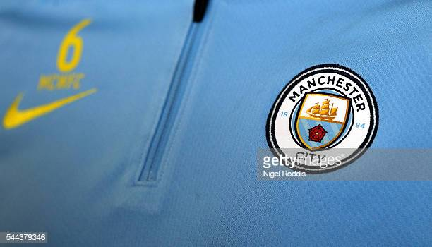 Manchester City's new badge is unveiled during a media day at the Etihad campus on July 3 2016 in Manchester England