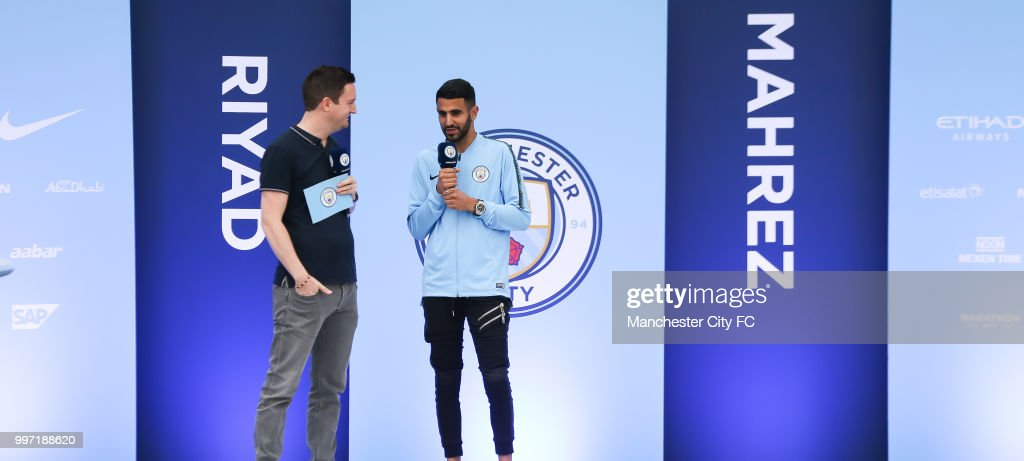 Manchester City Welcomes Riyad Mahrez : News Photo