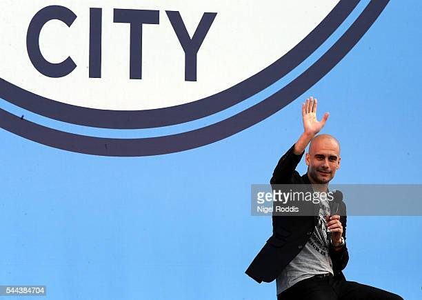 Manchester City's new Manager Pep Guardiola is unveiled during a media day at the Etihad campus on July 3 2016 in Manchester England