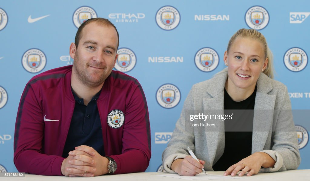 Manchester City's new signing Julia Spetsmark with manager Nick Cushing at Manchester City Football Academy on November 6, 2017 in Manchester, England.