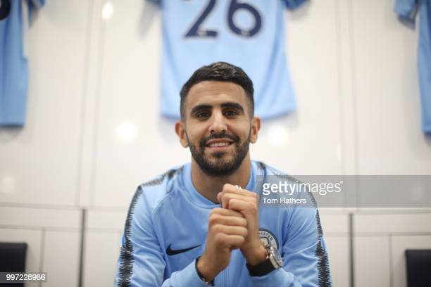 Manchester City's new signing Riyad Mahrez poses for a portrait at the Etihad Stadium on July 12 2018 in Manchester England