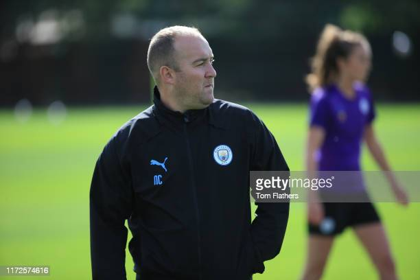 Manchester City's Nick Cushing in action during training at Manchester City Football Academy on September 05 2019 in Manchester England