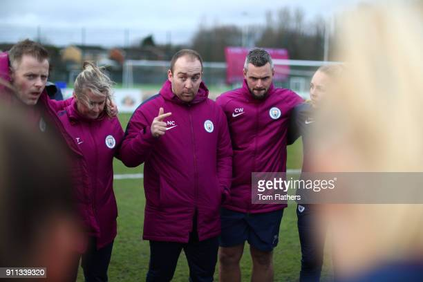 Manchester City's Nick Cushing speaks to the players ahead of the WSL match between Sunderland AFC Ladies and Manchester City Women on January 28...