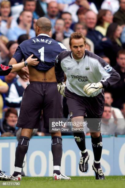 Manchester City's Nicky Weaver comes on as a substitute goalkeeper to allow David James to change his position to a striker