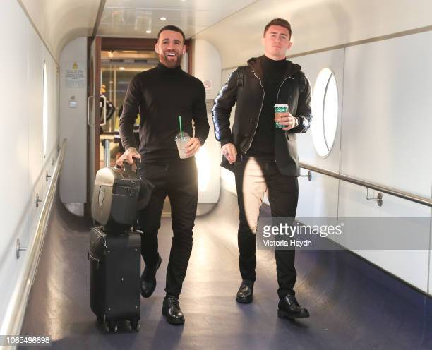 Manchester City's Nicolas Otamendi and Aymeric Laporte at Manchester Airport on November 26 2018 in Manchester England