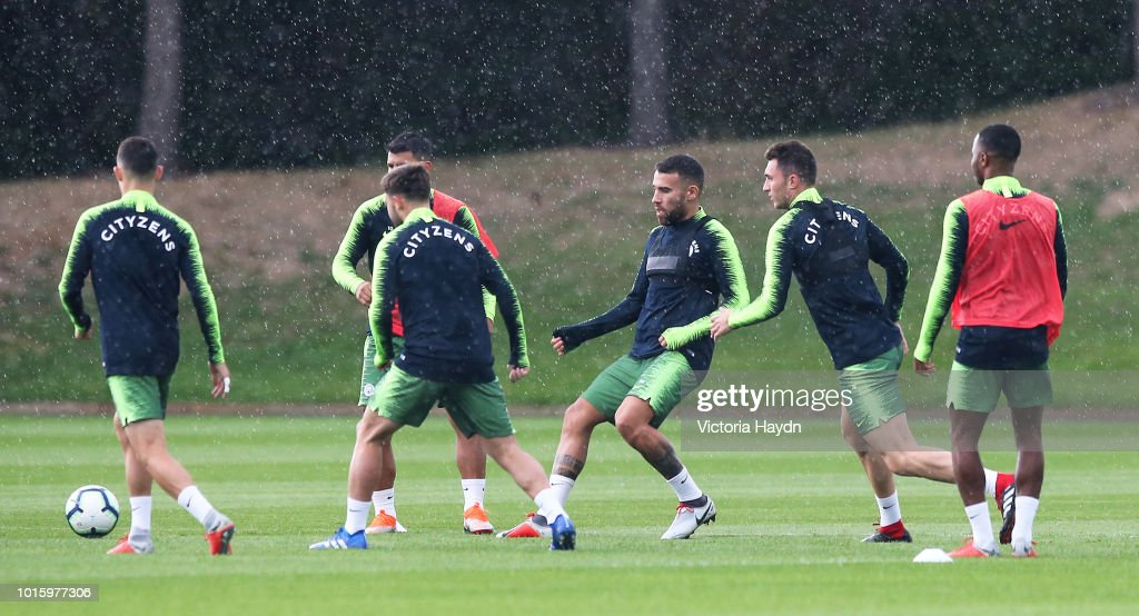 Manchester City's Nicolas Otamendi and team-mates during training at Manchester City Football Academy on August 10, 2018 in Manchester, England.