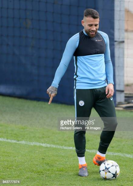 Manchester City's Nicolas Otamendi during the training session at the CFA Manchester