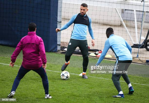 Manchester City's Nicolas Otamendi during training at Manchester City Football Academy on April 9 2018 in Manchester England