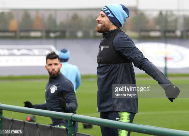Manchester City's Nicolas Otamendi in action at Manchester City Football Academy on November 8 2018 in Manchester England