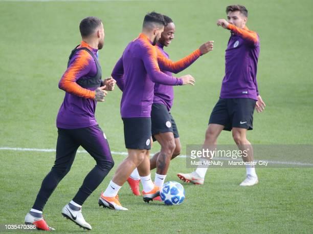Manchester City's Nicolas Otamendi Sergio Aguero Raheem Sterling and Brahim Diaz during training at Manchester City Football Academy on September 18...