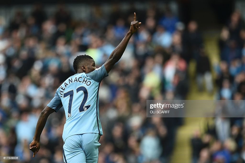 Manchester City's Nigerian striker Kelechi Iheanacho celebrates after scoring their first goal during the English Premier League football match between Manchester City and Southampton at the Etihad Stadium in Manchester, north west England, on October 23, 2016. / AFP / Oli SCARFF / RESTRICTED TO EDITORIAL USE. No use with unauthorized audio, video, data, fixture lists, club/league logos or 'live' services. Online in-match use limited to 75 images, no video emulation. No use in betting, games or single club/league/player publications. /